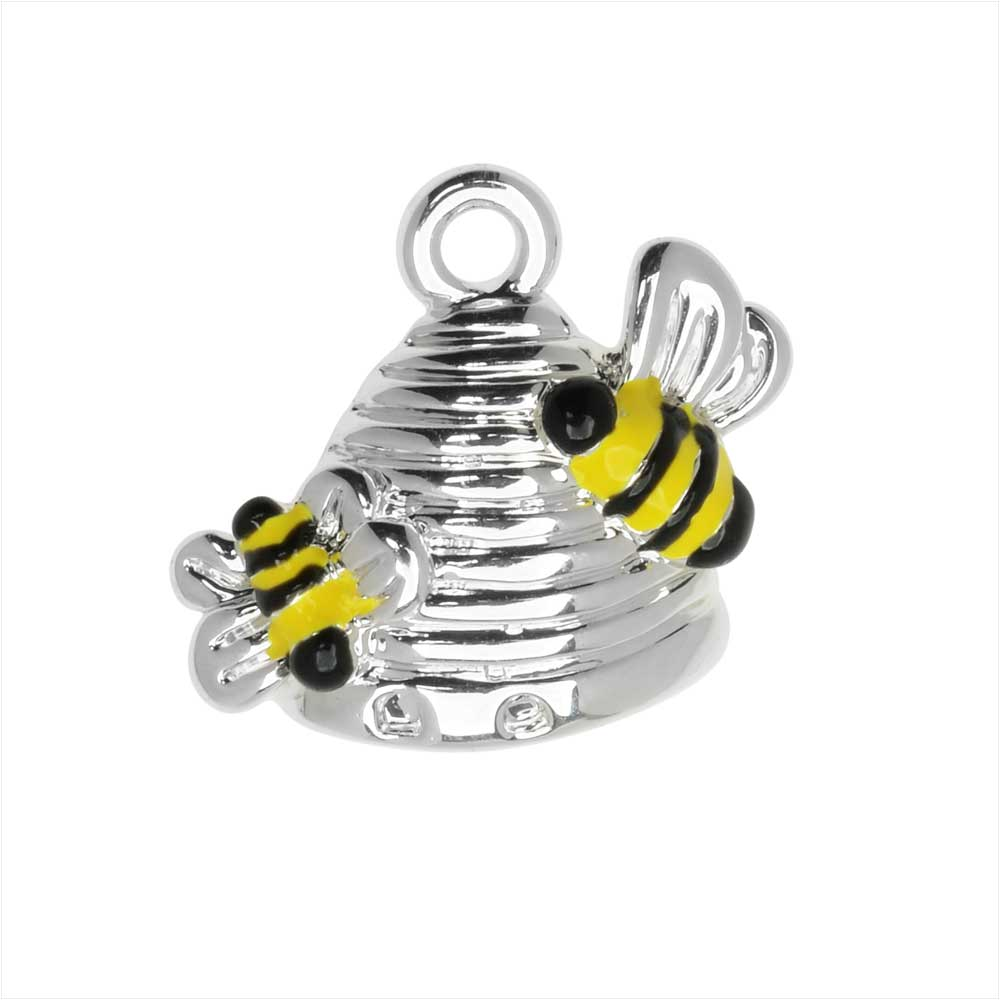 Jewelry Charm, Beehive with Two Bees, 15.5mm, 1 Piece, Silver Plated / Enamel
