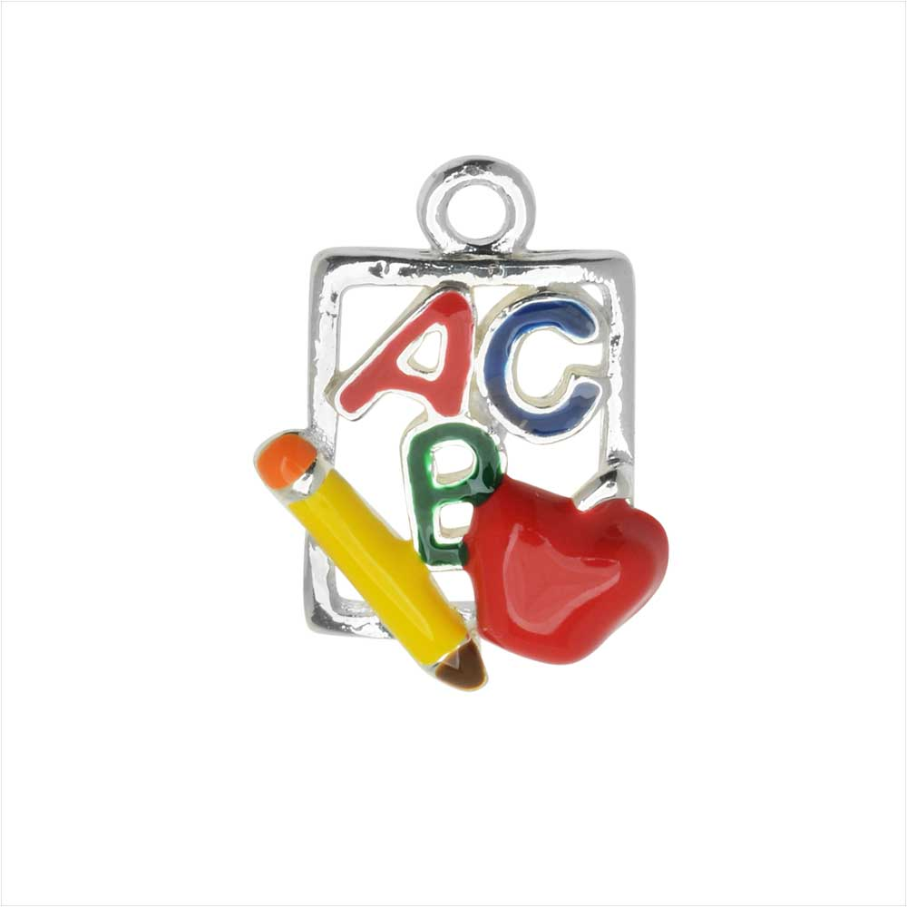 Jewelry Charm, Slate 'ABC' Cutout, 19mm, 1 Piece, Silver Plated / Enamel