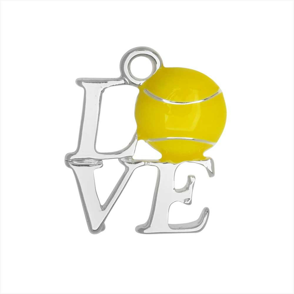 Final Sale - Jewelry Charm, Love in Square with Tennis Ball, 18mm, 1 Piece, Silver Plated / Enamel