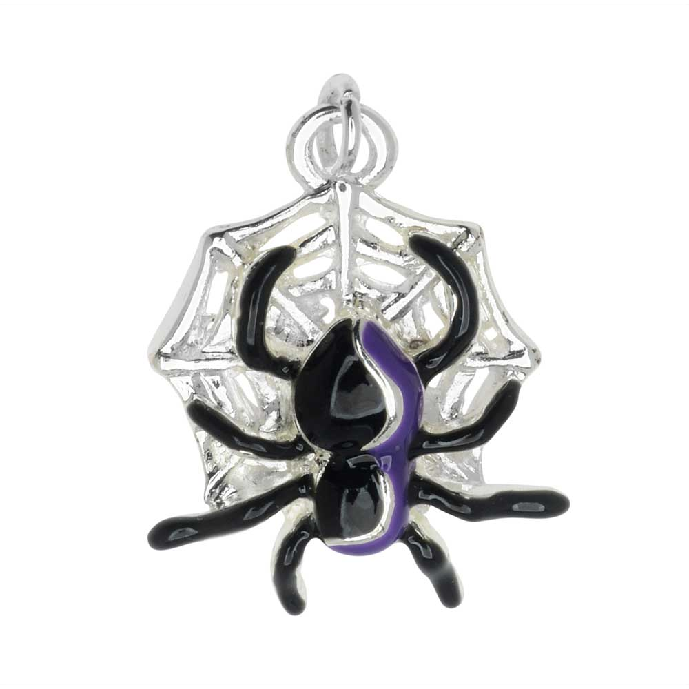 Final Sale - Jewelry Charm, Spider on Spiderweb, 21mm, 1 Piece, Silver Plated / Black
