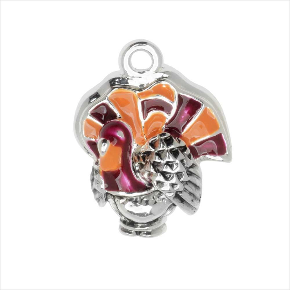 Jewelry Charm, Turkey, 19mm, 1 Piece, Silver Plated / Enamel