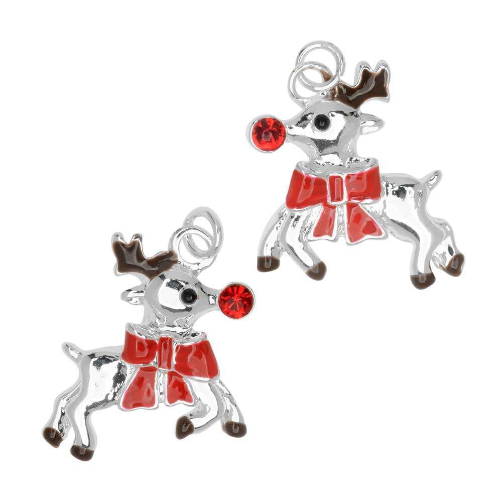 Jewelry Charm, Reindeer with Crystal, 18mm, Left & Right Pair, Silver Plated / Enamel