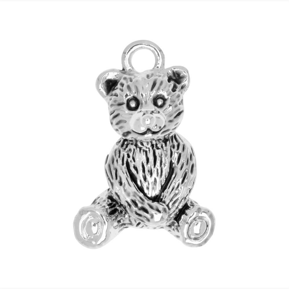 Final Sale - Jewelry Charm, Teddy Bear, 19.5mm, 1 Piece, Silver Plated