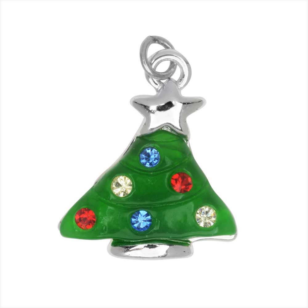Jewelry Charm, Christmas Tree with Crystals, 18mm, 1 Piece, Silver Plated / Resin
