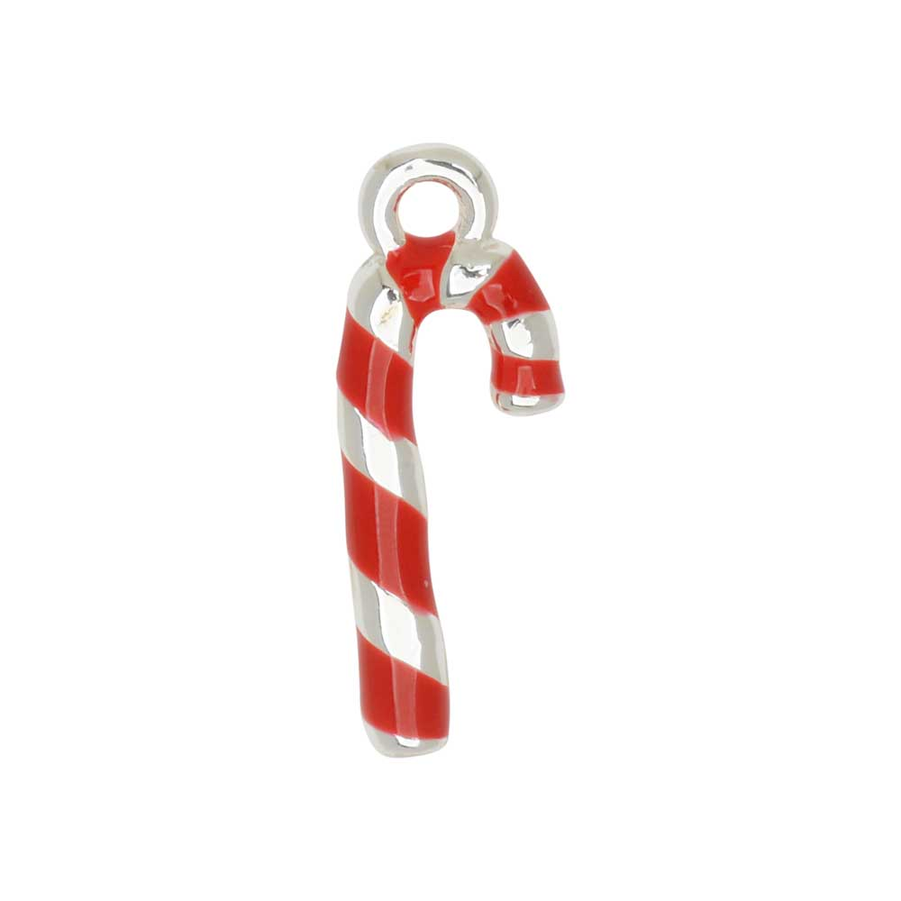 Jewelry Charm, 3-D Candy Cane, 19mm, 1 Piece, Silver Plated / Red