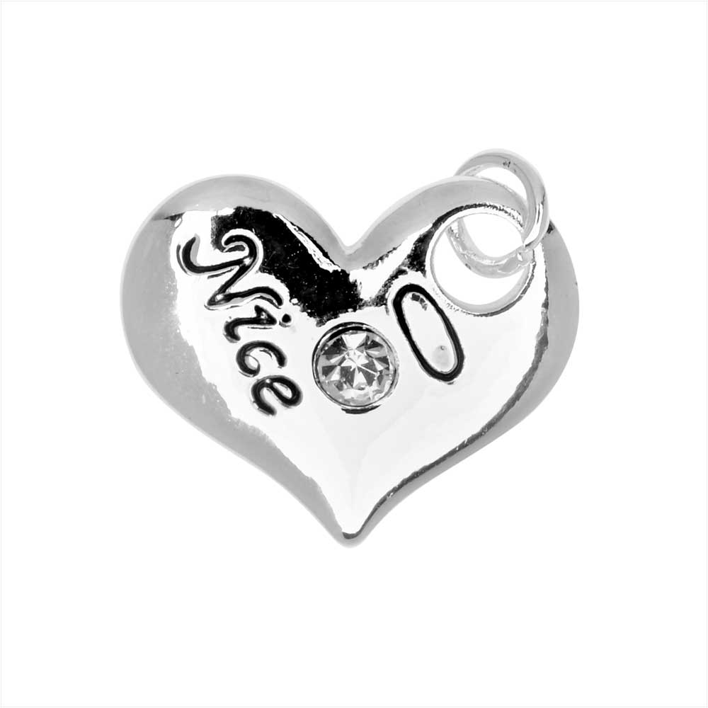Jewelry Charm, 2 Sided Naughty or Nice Heart with Crystals, 14.5mm, 1 Piece, Silver Plated