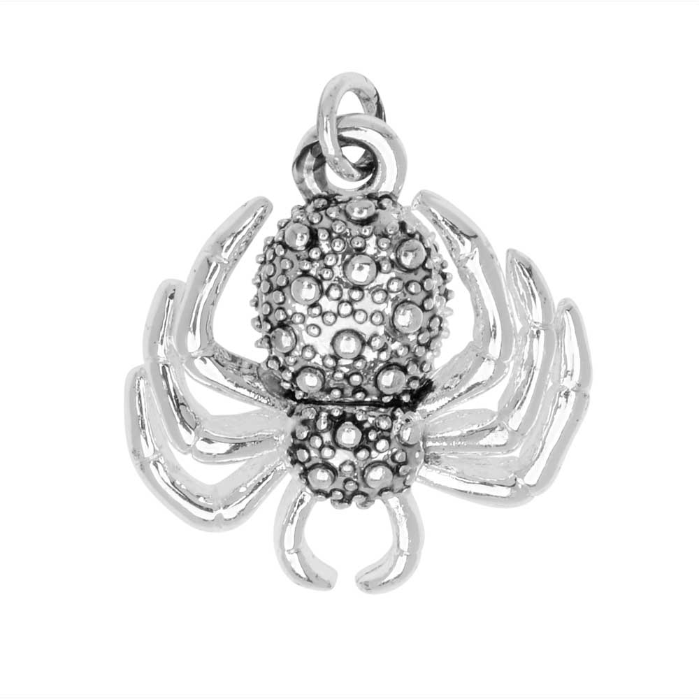 Final Sale - Jewelry Charm, 3-D Textured Spider, 19mm, 1 Piece, Silver Plated