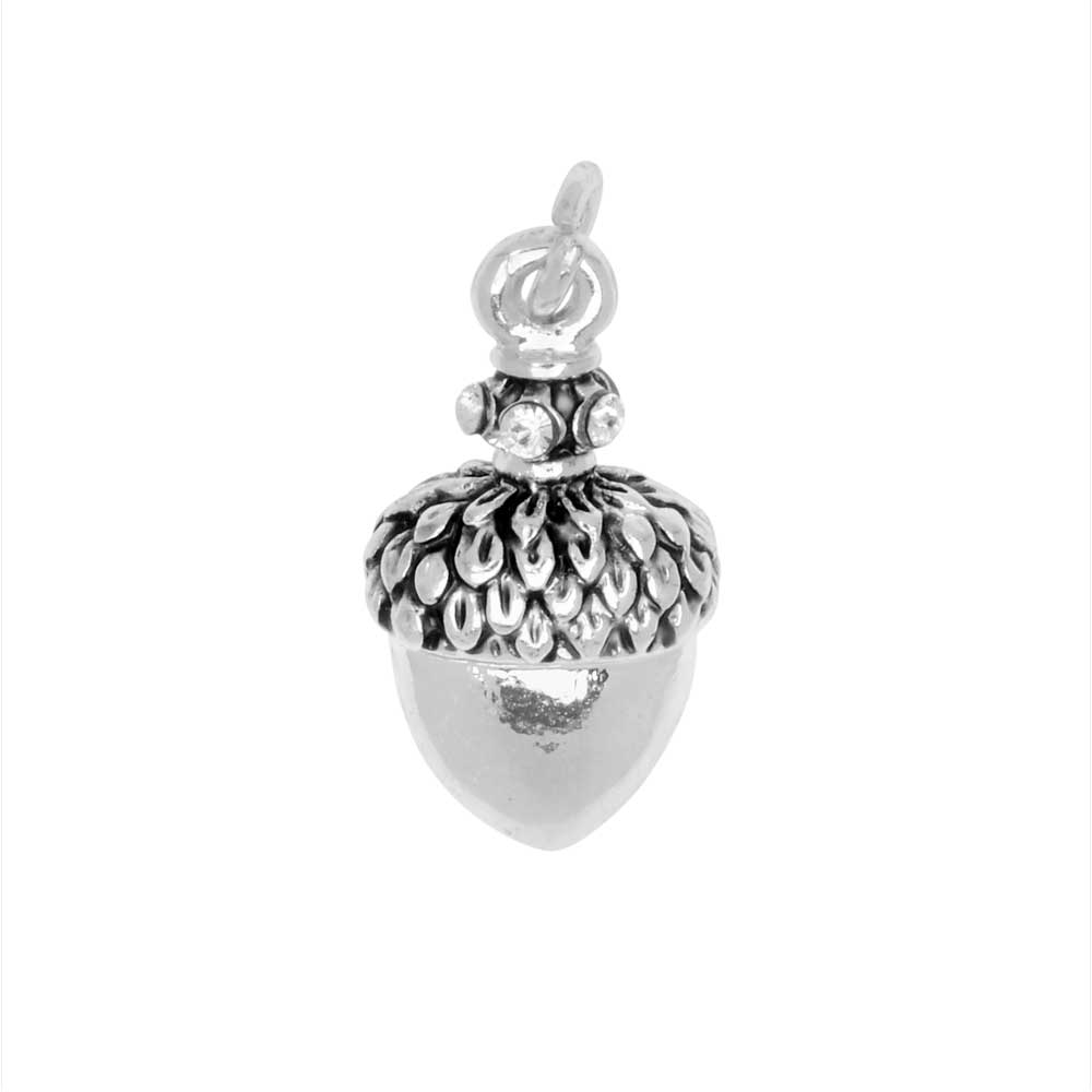 Final Sale - Jewelry Charm, Small Acorn with Crystals, 17mm, 1 Piece, Silver Plated