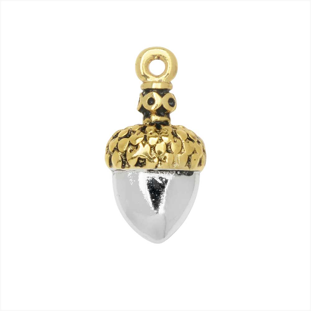 Jewelry Charm, Small Acorn with Crystals, 17mm, 1 Piece, Silver Plated / Gold