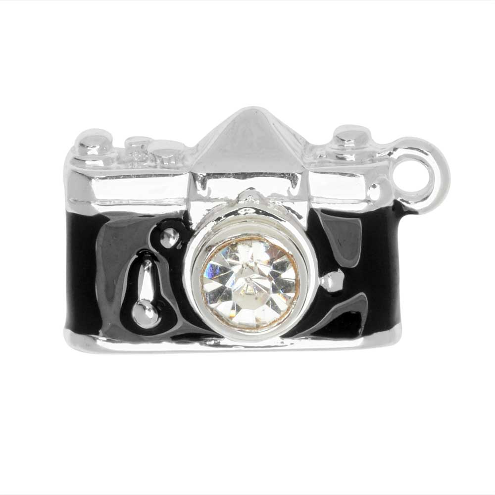 Final Sale - Jewelry Charm, Camera, 21mm, 1 Piece, Silver Plated / Black