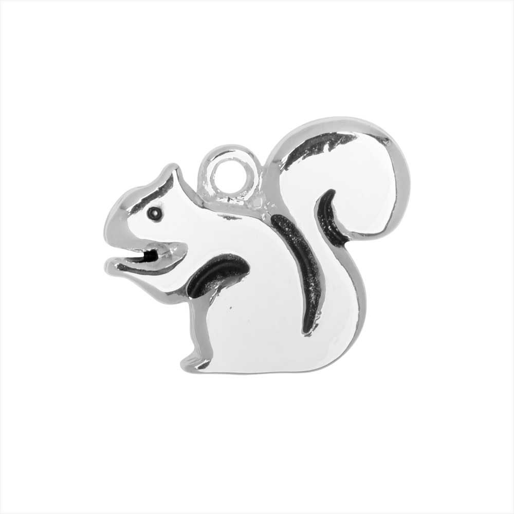 Jewelry Charm, Squirrel, 13.5mm, 1 Piece, Silver Plated