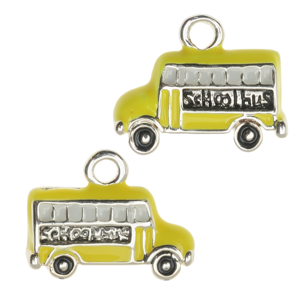 Final Sale - Jewelry Charm, Yellow School Bus, 12x15mm, Left & Right Pair, Silver Plated with Enamel