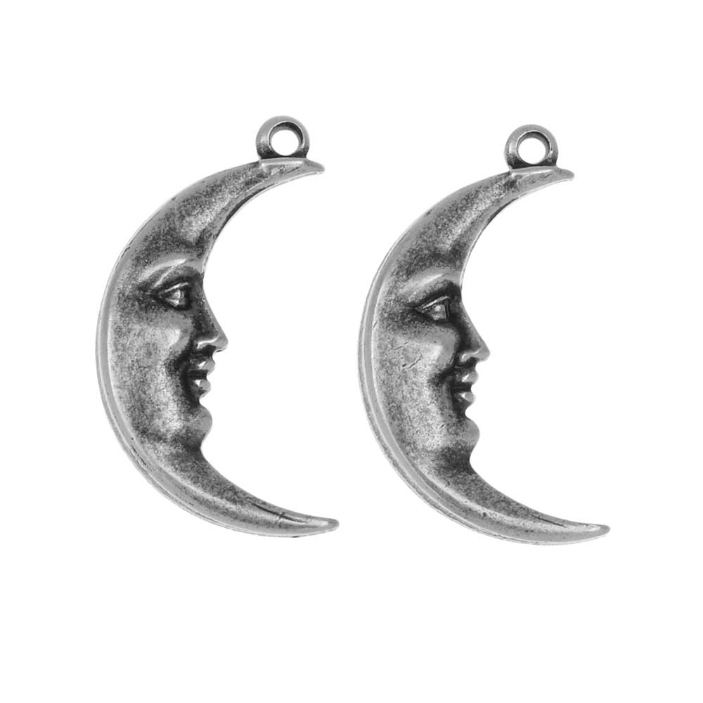 Stamping Pendant, Right Facing Crescent Moon with Face 10x19mm, 2 Pieces, Antiqued Silver