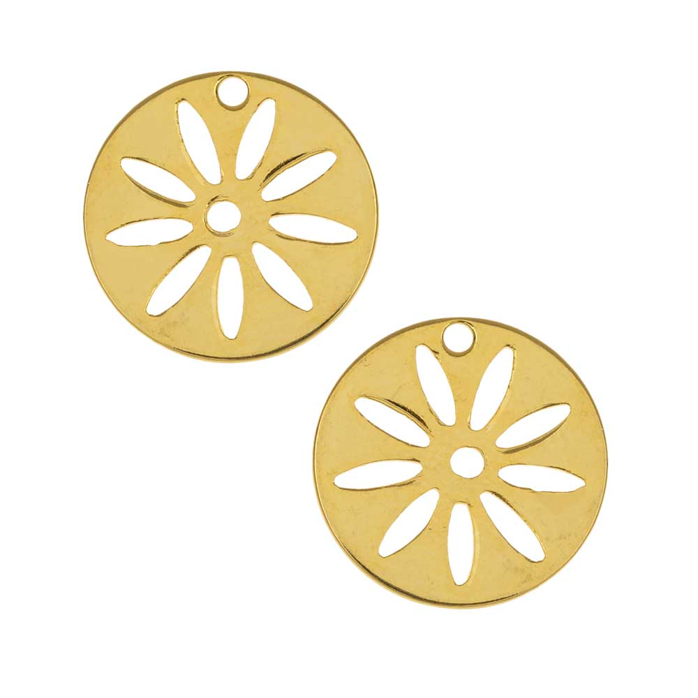 Stamping Charm, Round Flower Stencil 16mm, 2 Pieces, Gold Plated