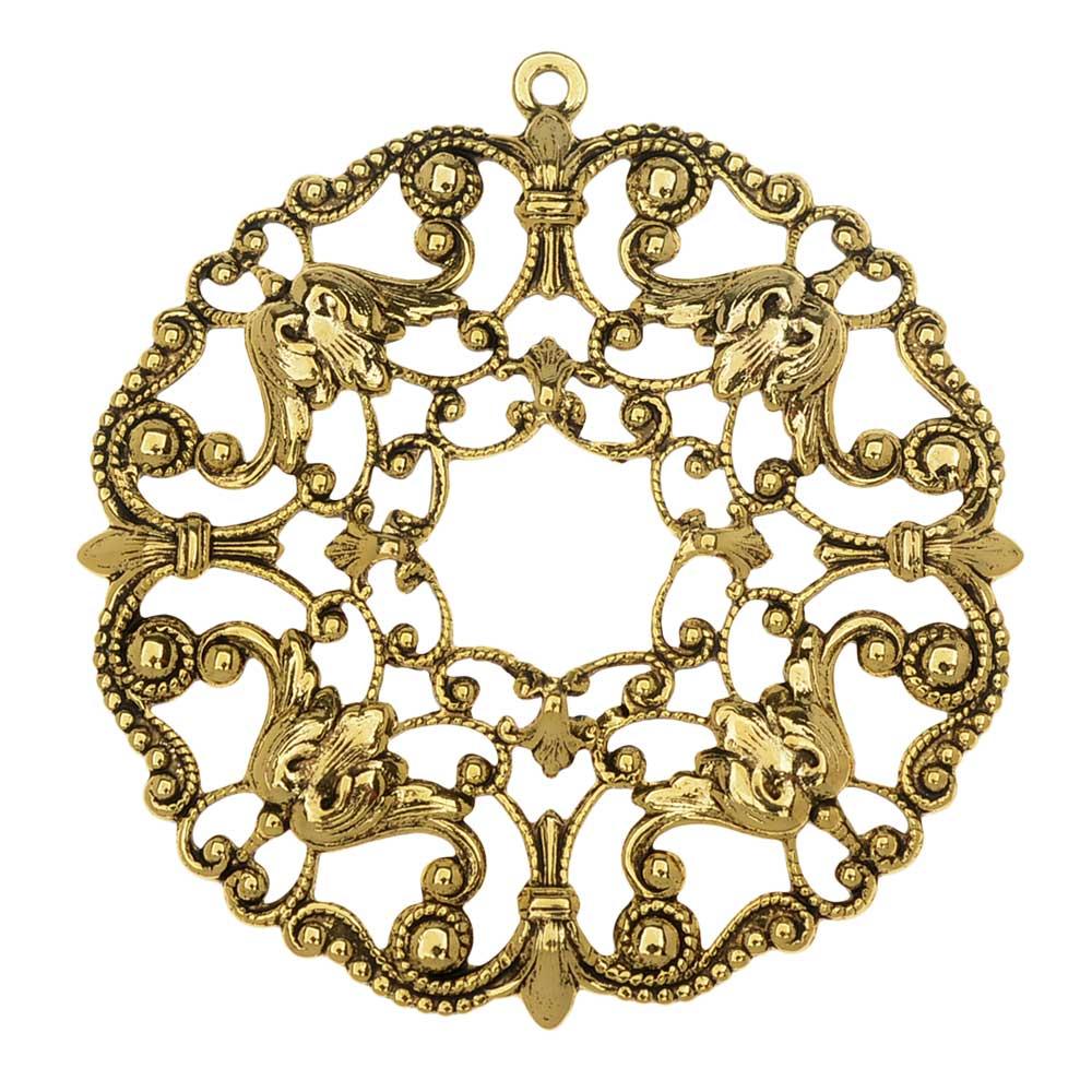 Final Sale - Stamping Filigree Pendant, Ornate Circle 51mm, 1 Piece, Antiqued Gold