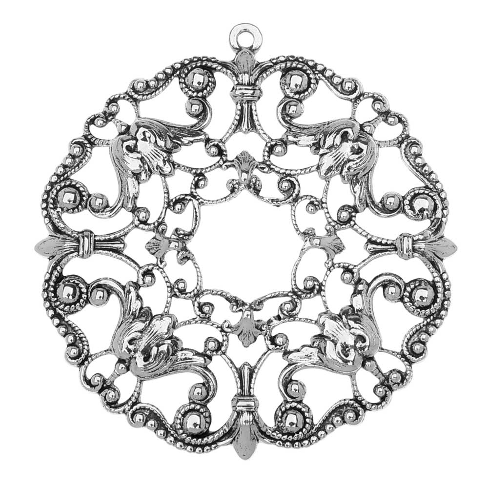 Final Sale - Stamping Filigree Pendant, Ornate Circle 51mm, 1 Piece, Antiqued Silver