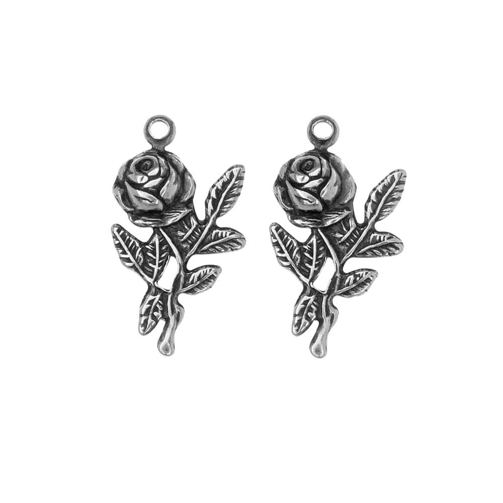 Stamping Charm, Rose 10.5x19mm, 2 Pieces, Antiqued Silver