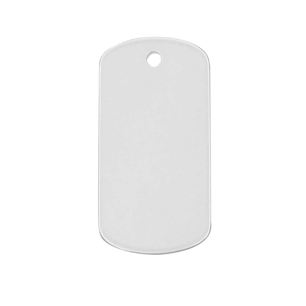 Laser Cut Dog Tag Pendant Blank, 25x13mm with 1.8mm Hole, 1 Piece, Sterling Silver