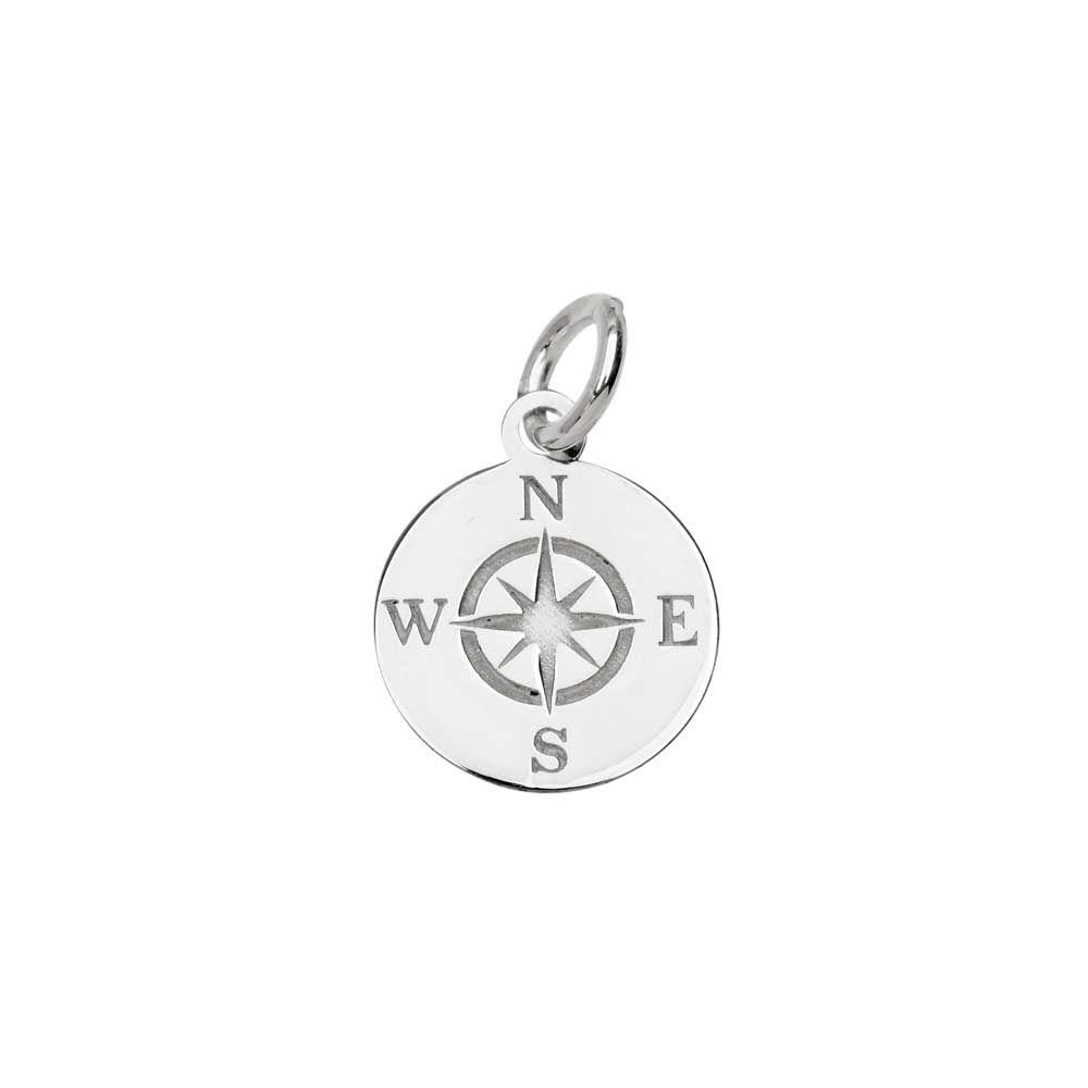 Sterling Silver Charm, Round Compass with Jump Ring 13.5x11mm, 1 Piece