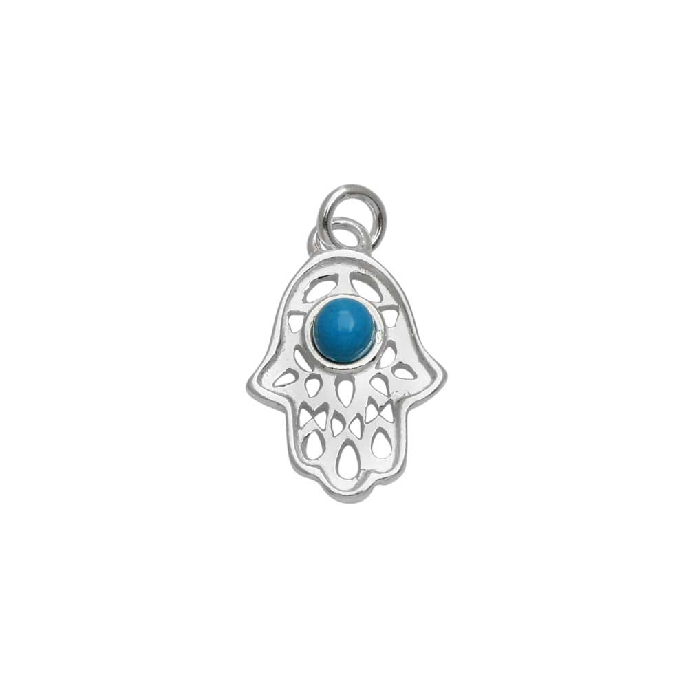 Sterling Silver Charm, Hamsa Hand with Turquoise Gemstone and Jump Ring 15.5x10.5mm, 1 Piece