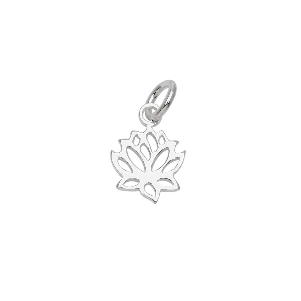 Sterling Silver Charm, Openwork Lotus Flower with Jump Ring 12.5x9.5mm, 1 Piece