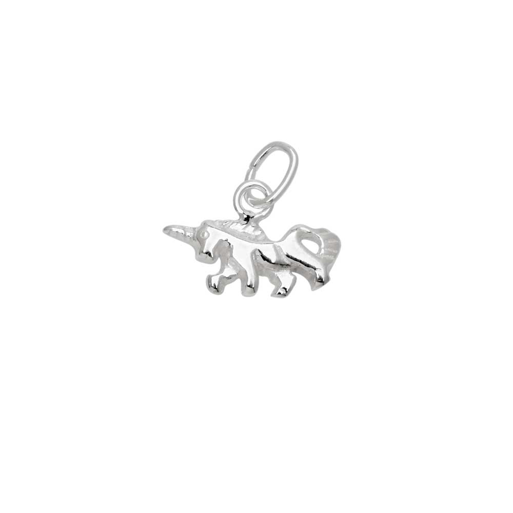 Sterling Silver Charm, Small Unicorn with Jump Ring 8.5x12mm, 1 Piece