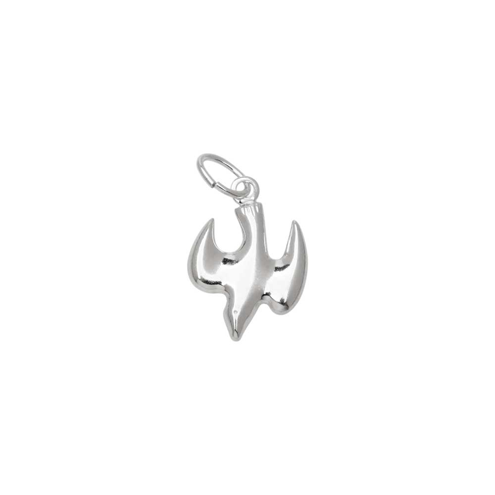 Sterling Silver Charm, Small Dove with Jump Ring 12.5x8.5mm, 1 Piece