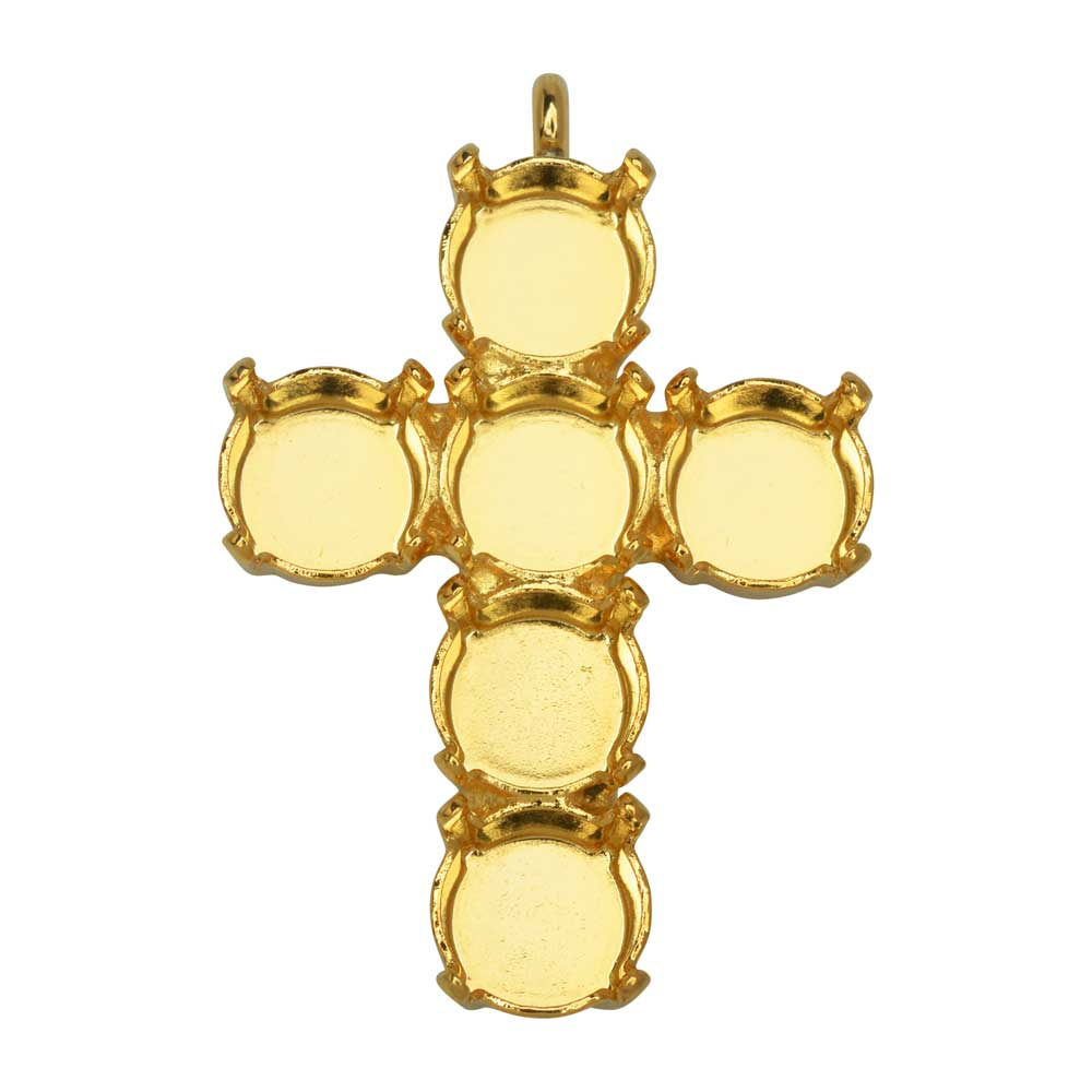 Final Sale - Gita Jewelry Stone Setting for Swarovski Crystal, Cross Pendant for Six SS39 Chatons, Gold Plated