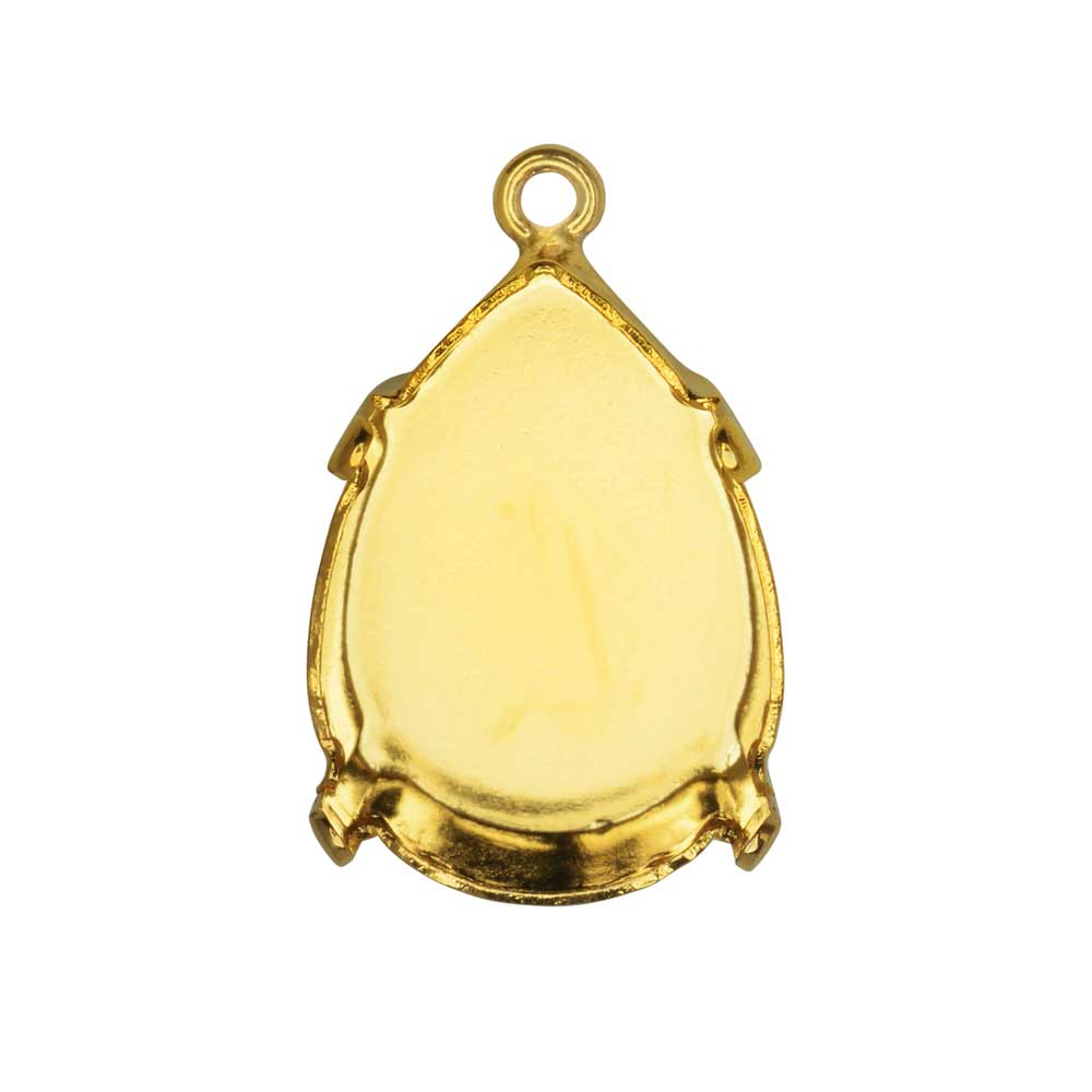 Gita Jewelry Stone Setting for Swarovski Crystal, Pendant Base for 18x13mm Pear, Gold Plated