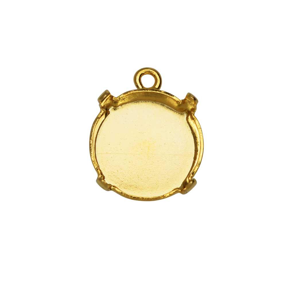 Gita Jewelry Stone Setting for Swarovski Crystal, Pendant Base for 12mm Rivoli, Gold Plated