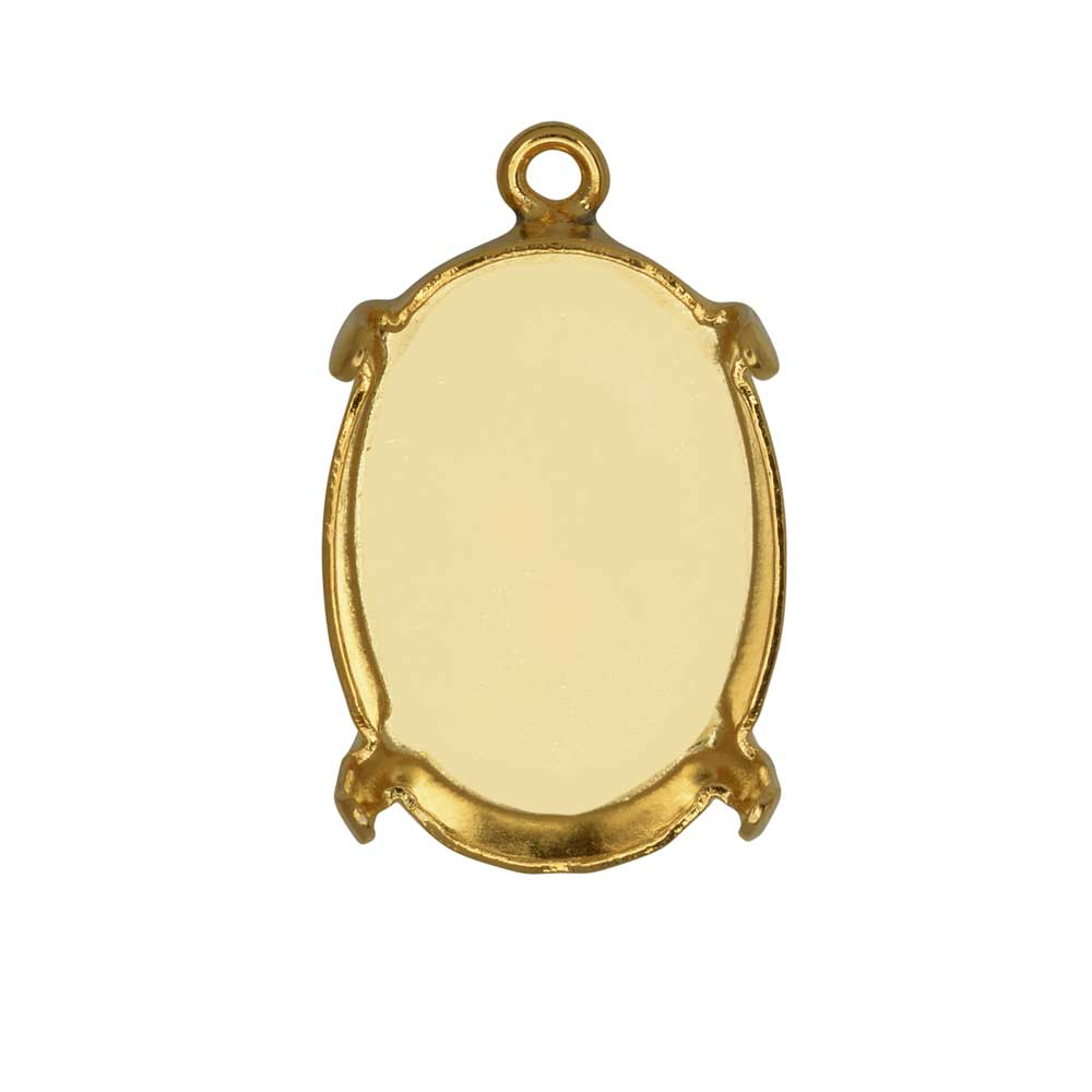 Gita Jewelry Stone Setting for Swarovski Crystal, Pendant Base for 18x13mm Oval, Gold Plated