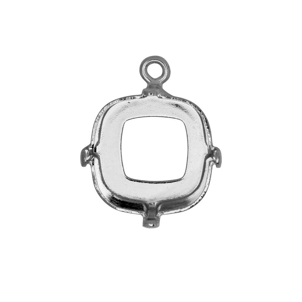 Gita Jewelry Setting for Swarovski Crystal, Square Pendant for 12mm Cushion Stone, Rhodium Plated