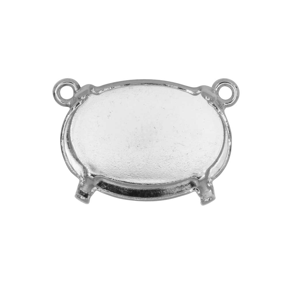 Gita Jewelry Setting for Swarovski Crystal, Pendant Link with 2 Loops for 18x13mm Oval, Rhodium Plt.