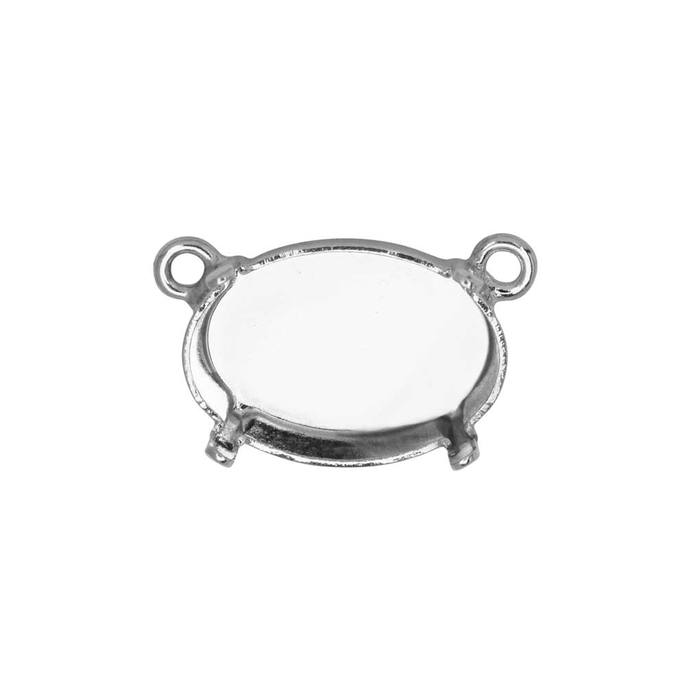 Gita Jewelry Setting for Swarovski Crystal, Pendant Link with 2 Loops for 14x10mm Oval, Rhodium Plt.