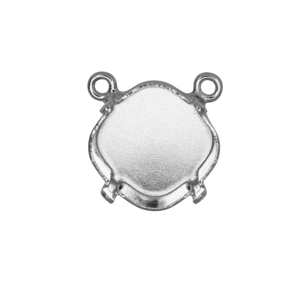 Gita Jewelry Setting for Swarovski Crystal, Pendant Link with 2 Loops for 12mm Cushion, Rhodium Plt.
