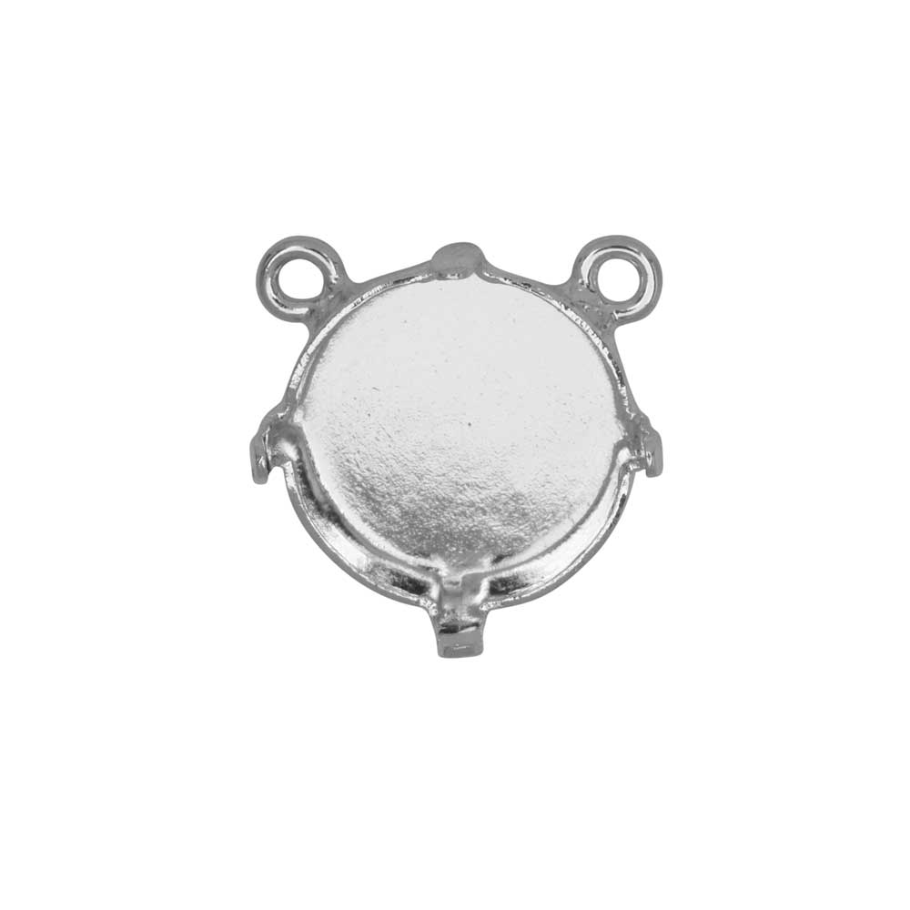 Gita Jewelry Setting for Swarovski Crystal, Pendant Link, 2 Loops for 12mm Rivoli, Rhodium Plated