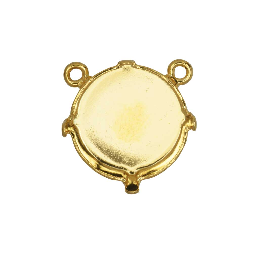 Gita Jewelry Setting for Swarovski Crystal, Pendant Link with 2 Top Loops for 14mm Rivoli, Gold Plt.