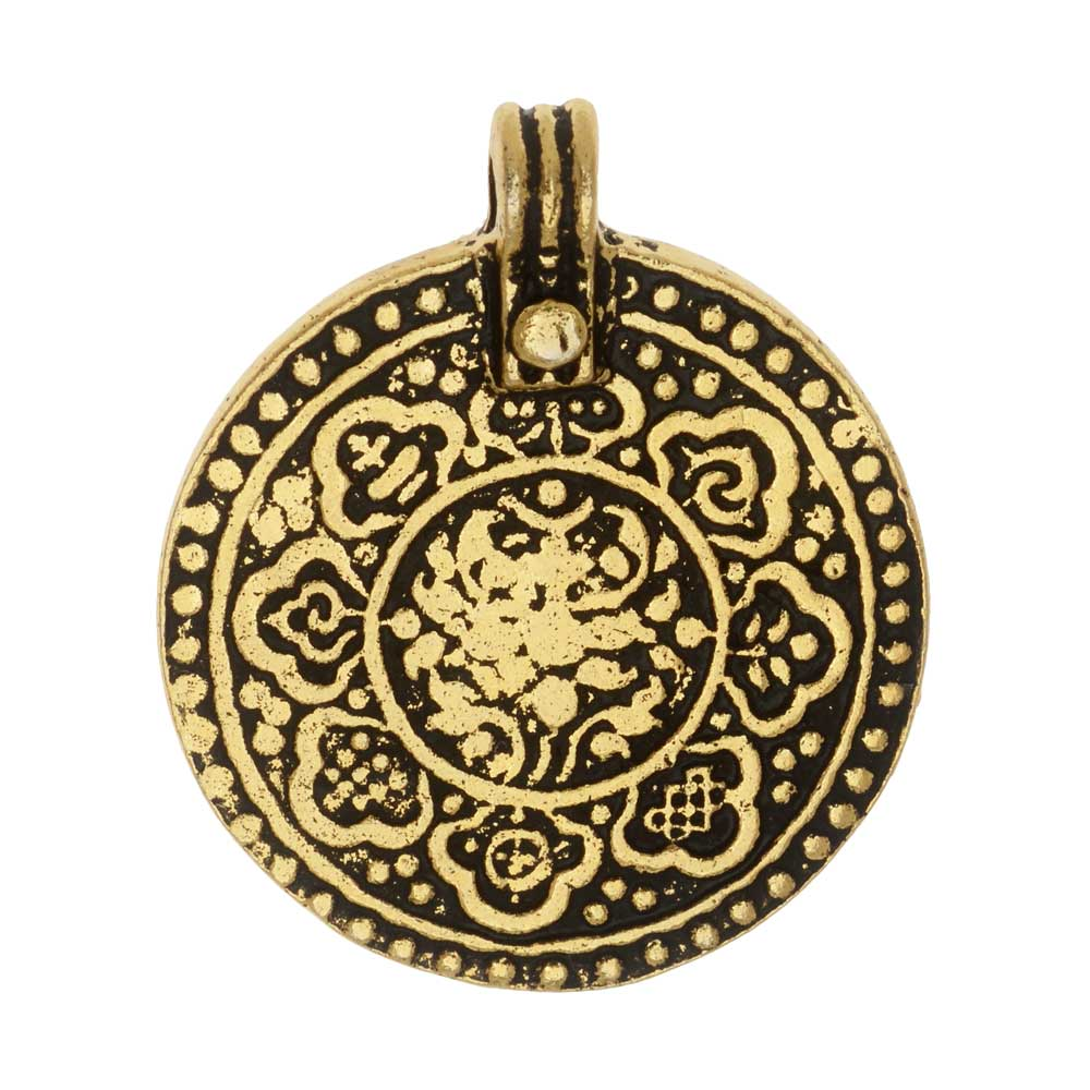 Final Sale - TierraCast Pewter Pendant, The 8 Fold Path Design 31.5x26.5mm, 1 Piece, 22K Gold Plated