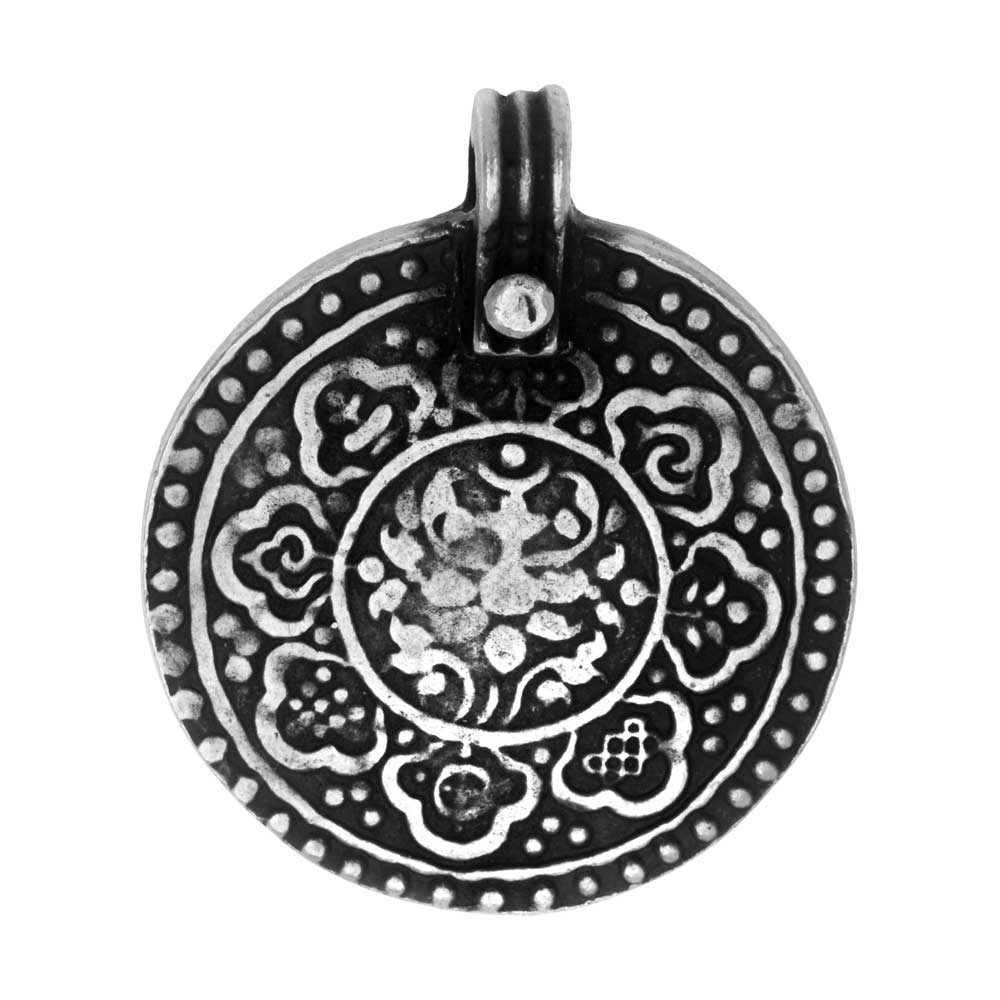 Final Sale - TierraCast Pewter Pendant, The 8 Fold Path Design 31.5x26.5mm, 1 Piece, Antiqued Pewter