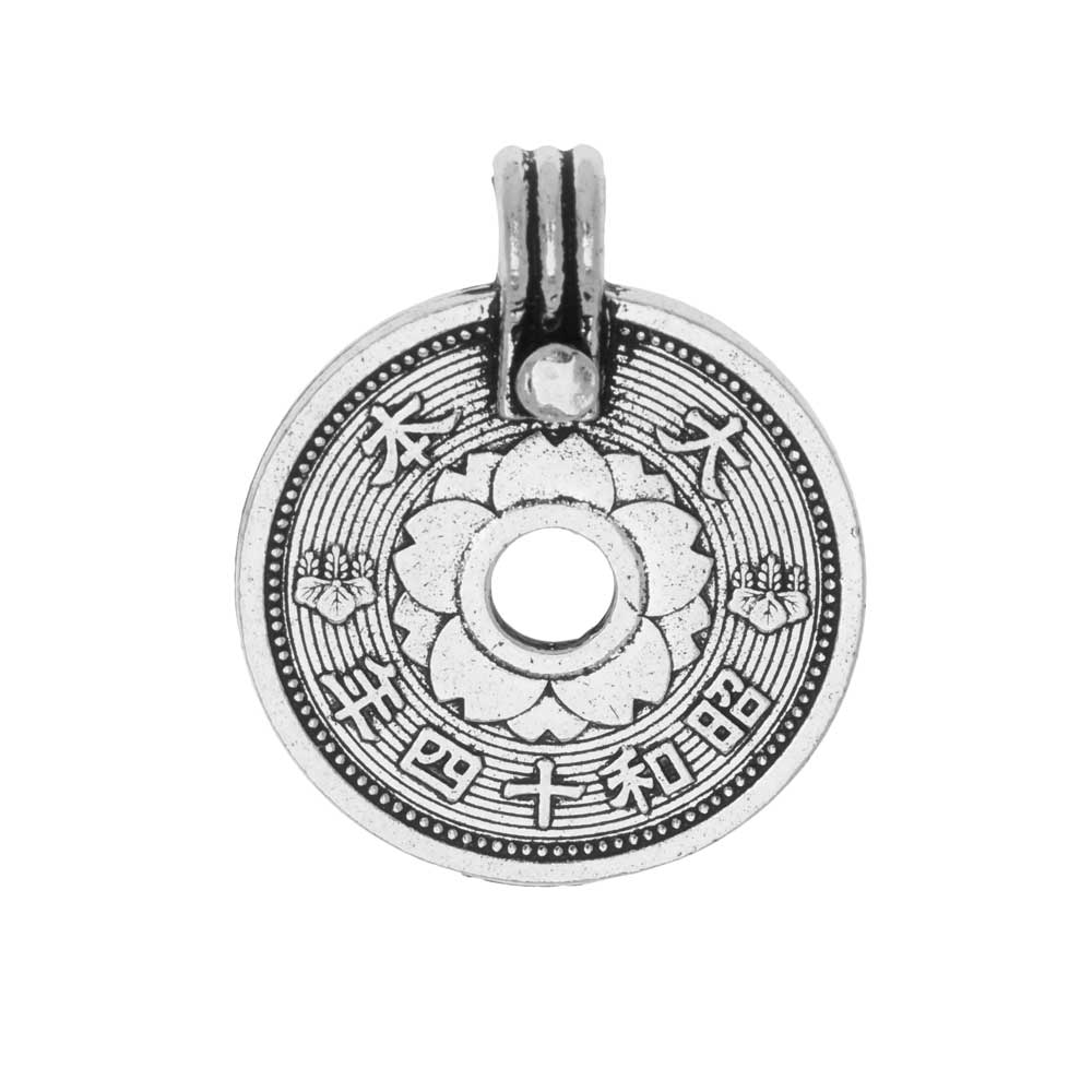 Final Sale - TierraCast Pewter Pendant, East Asian Coin 25.5x21mm, 1 Piece, Antiqued Silver Plated