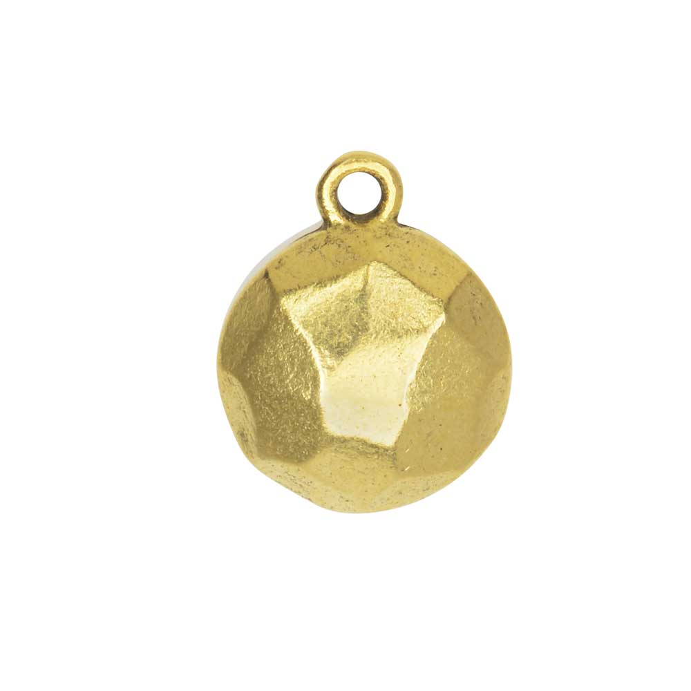 Metal Charm, Flat Back Faceted Circle 13mm, Antiqued Gold, 1 Piece, by Nunn Design
