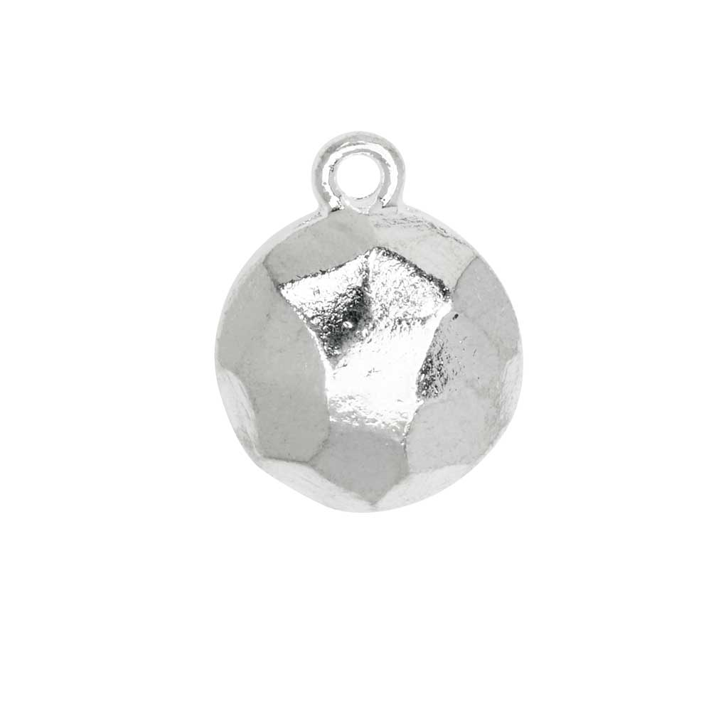 Metal Charm, Flat Back Faceted Circle 13mm, Bright Silver, 1 Piece, by Nunn Design
