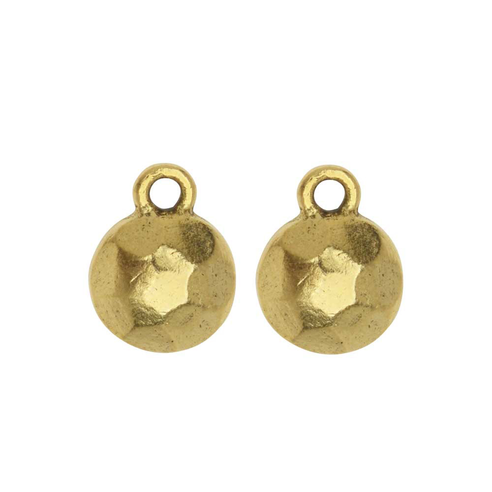 Metal Charm, Flat Back Faceted Circle 9mm, Antiqued Gold, 2 Pieces, by Nunn Design