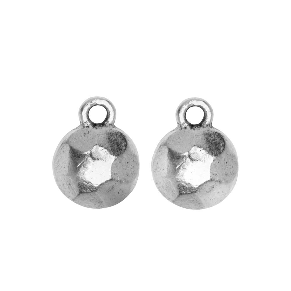 Metal Charm, Flat Back Faceted Circle 9mm, Antiqued Silver, 2 Pieces, by Nunn Design