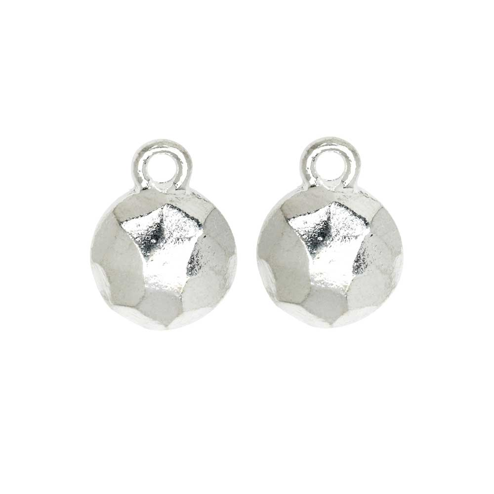 Metal Charm, Flat Back Faceted Circle 9mm, Bright Silver, 2 Pieces, by Nunn Design