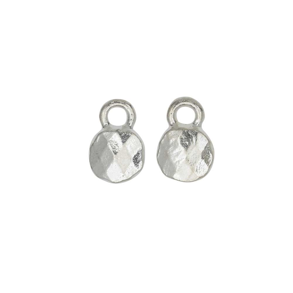 Metal Charm, Faceted Circle 6mm, Bright Silver, 2 Pieces, by Nunn Design