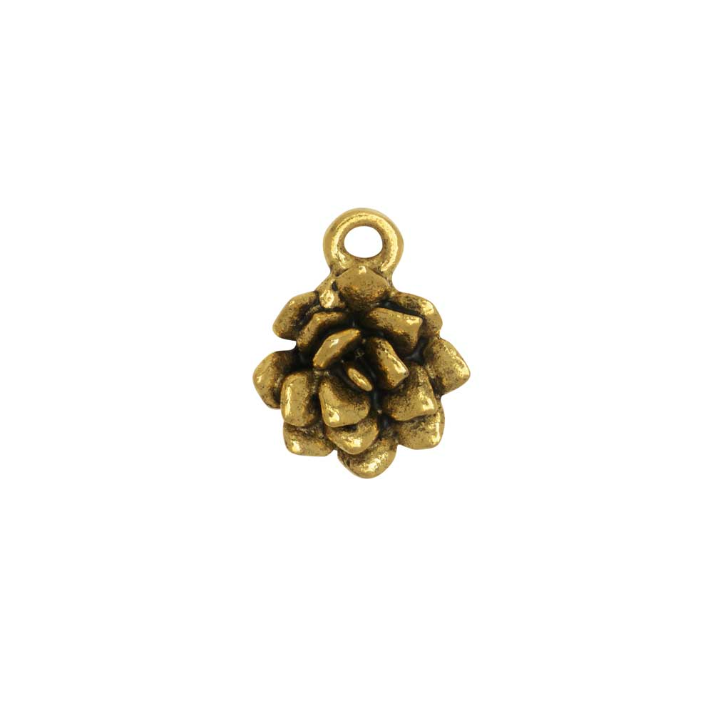 Metal Charm, Succulent 12x15mm, Antiqued Gold, 1 Piece, by Nunn Design