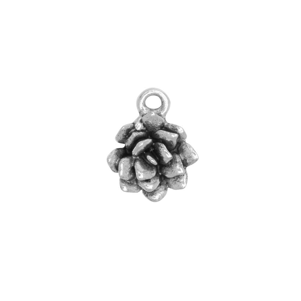 Metal Charm, Succulent 12x15mm, Antiqued Silver, 1 Piece, by Nunn Design