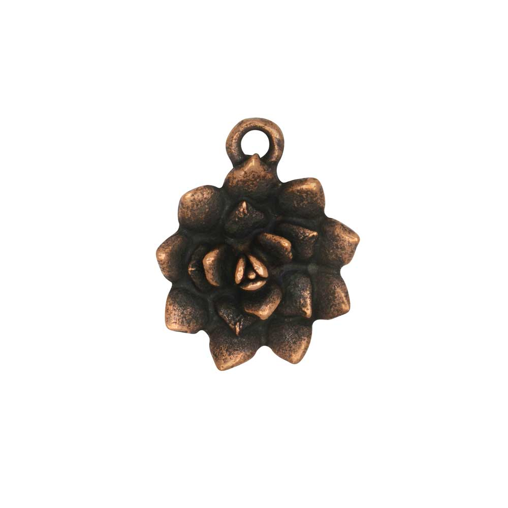 Metal Charm, Succulent 16x25.5mm, Antiqued Copper, 1 Piece, by Nunn Design