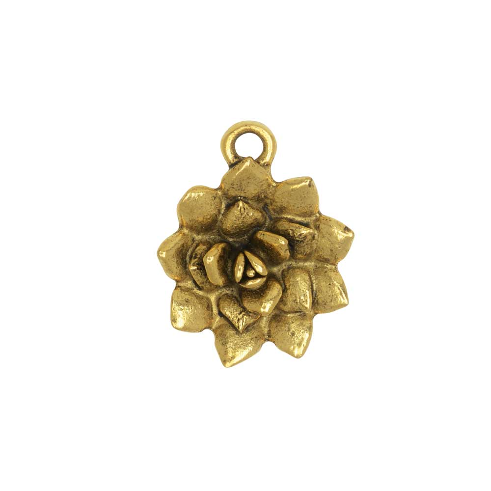 Metal Charm, Succulent 16x25.5mm, Antiqued Gold, 1 Piece, by Nunn Design